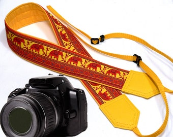 Lucky Elephant camera strap. Ethnic DSLR / SLR Camera Strap. Camera accessories. Durable, light and well padded camera strap by InTePro