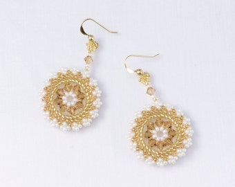 Swarovski crystal earrings champagne, chic earrings, circle earrings, champagne statement earrings, circular earrings, brown, 211-1