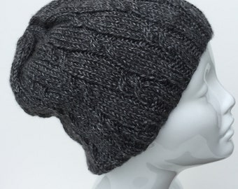 Hand knit hat, gray hand knit cable hat.