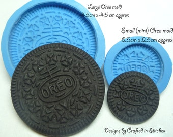 Oreo cookie biscuit silicone push mould mold, craft mold for use with edible and none edible fillings fimo, sculpey, resin