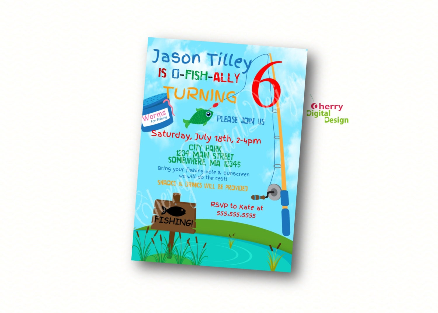 Printed or printable fishing themed birthday invitation gone for Fishing birthday party invitations