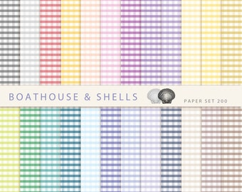 COLORFUL GINGHAM, Scrapbooking digital paper pack, printable, instant download - 24 papers - 200