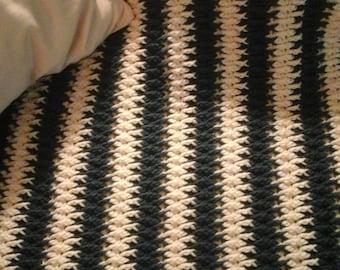 King Size Crochet Blanket - Front Post Drop Afghan