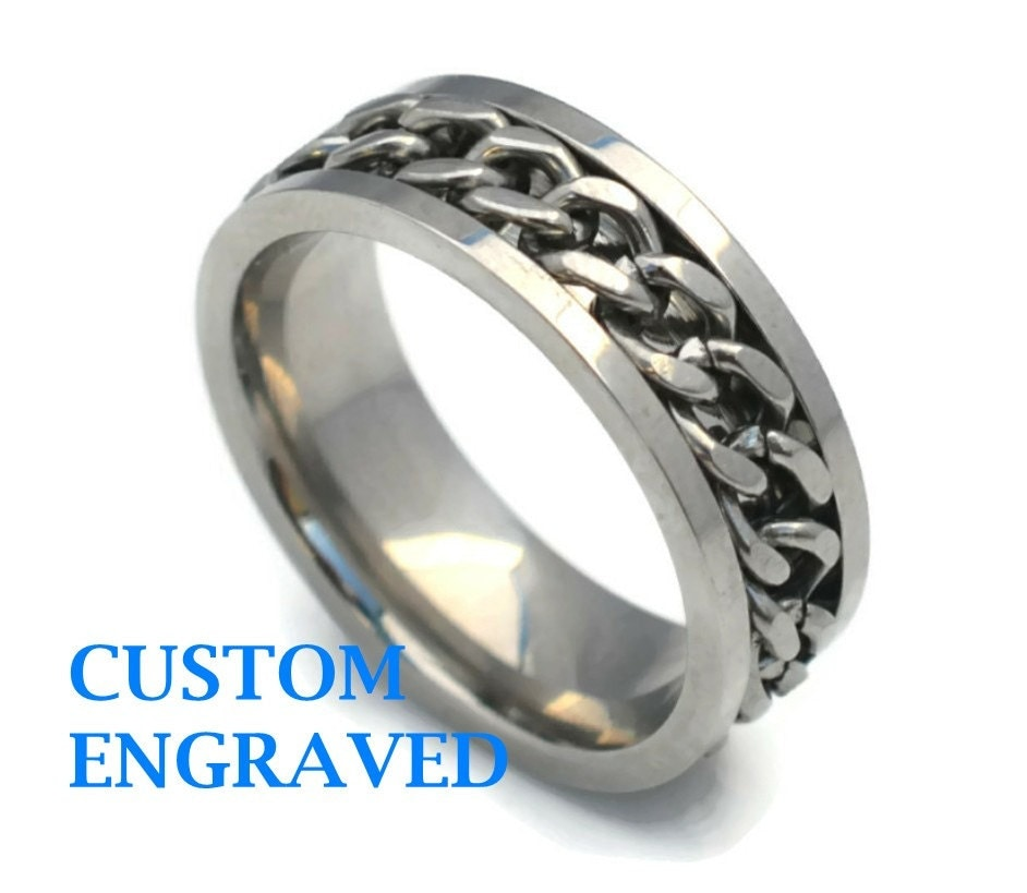 engraved stainless steel ring engraved steel chain ring