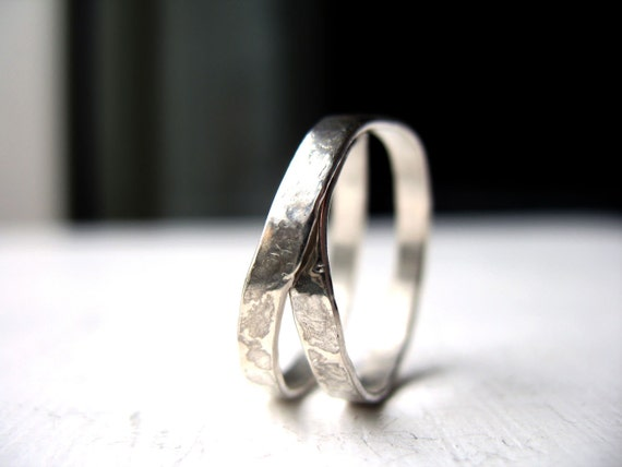 simple unique rings hammered ring silver band ring by