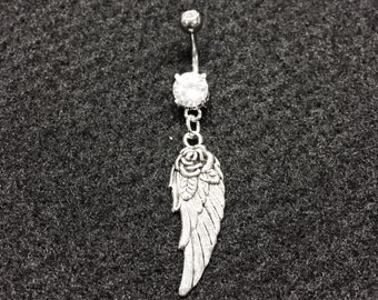 Angel Wing Dangle Charm Belly Button Ring