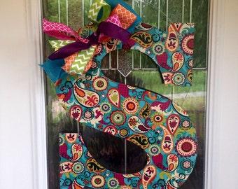 Initial Door Hanger, Letter Door Hanger, Wood and Fabric Door Hanger