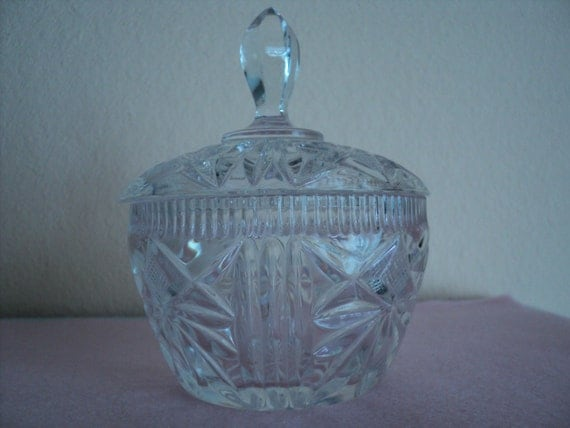 Crystal sugar bowl or candy dish with lid faceted cut