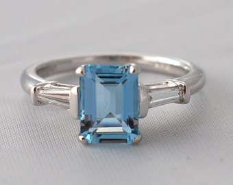 1.5ct Fine Aquamarine and diamond ring