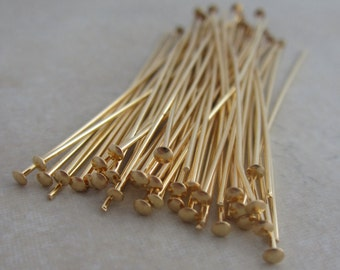 100 gold plated 2 inch headpins 21 gauge