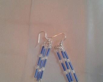 blue bugle beaded earring with swarfski bead