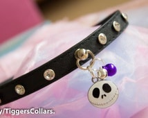 Black Crystal Jack collar with purple or red mini bell Kitten Collar Kitten pLay bdsm submissive collar halsband mature