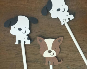 Puppy Cupcake Toppers - Puppy Party - Puppy baby shower - puppy birthday party - Cupcake Toppers - Dalmation party - Terrier Party