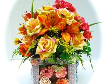 ABC Baby Block Floral Arrangement, Mulberry Paper and Silk Flowers in Paper Mache Base