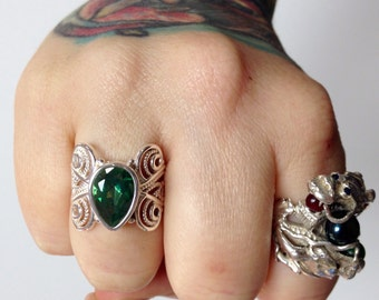 Huge Green Quartz + Sterling Silver .925 filigree ring sz 8