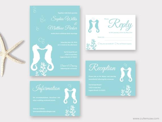 Beach Wedding Invitation Printable, Seahorse Invitation, Destination Wedding Suite, Tropical Wedding, Ocean, Nautical Invitation Template