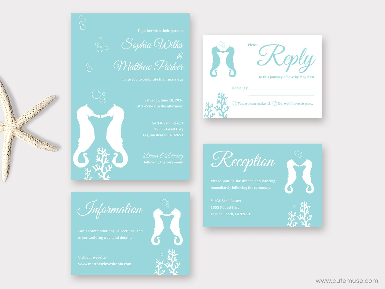 Beach Wedding Invitation Printable Seahorse Wedding