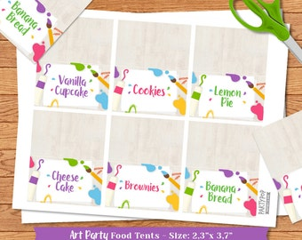 Personalized Art Party food label tent (digital file)