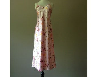 S / Satin Nightgown / Long Gown / Size Small / Women's Sleepwear / Pink Floral Liquid Silk / FREE Shipping