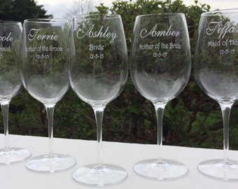 10 Bridesmaid Engraved Wine Glasses, Bridesmaid Gifts, Wedding Party Gifts