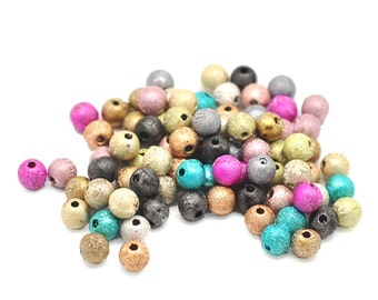 250 Assorted Stardust Acrylic Beads 6mm.  Ideal for jewellery, decoration,