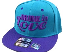 Flat Bill Snapback Hip 3D DRUNK IN LOVE Surfboard Hip Hop Flawless Aqua/Purple