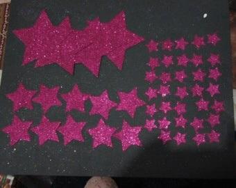 48 hot pink Glitter Star die cuts, assorted sizes