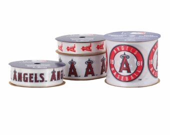 Offray 4-Pack MLB LA Los Angeles Angels Ribbon, White/Red