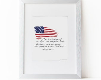 LDS Quote| LDS Print| LDS Art | Fourth of July Decor | Alma Quote | Inspirational Quotes |Inspirational Art| Instant Download |American Flag