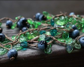 One meter of blueberry and leaves - Great boho nature necklace - Lampwork berries bijou - Blueberry jewelry