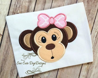Girl Monkey Applique Design