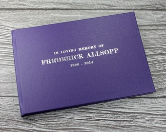 Personalised remembrance book / funeral guest book – handmade in classic purple buckram 172mm x 255mm