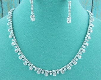 Crystal Rhinestone Teardrop Jewelry Set, Crystal Wedding Necklace Set, bridal jewelry set, wedding jewelry set, bridesmaid jewelry set