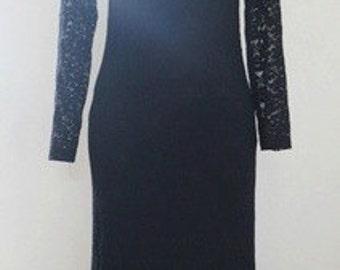 Vintage Black Lace Maxi Dress.