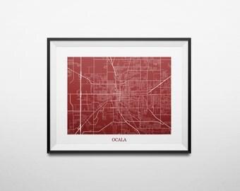 Ocala, Florida Map Abstract Street Map Print