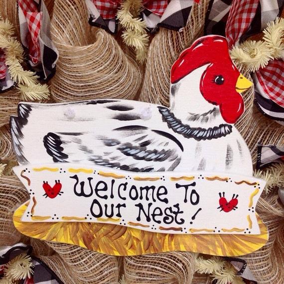welcome to our nest kitchen or door wreath handmade deco mesh. Black Bedroom Furniture Sets. Home Design Ideas