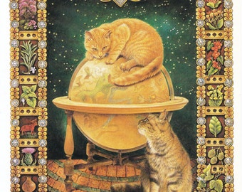 Aries vintage cat print globe star sign horoscope zodiac Lesley Anne Ivory feline illustration astrology celestial  8 x 11 inches