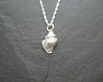 Fine silver seashell pendant