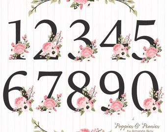 Premium Floral Numbers Clipart & Vectors - Soft Pink Flower Numbers Clipart, Wedding Vectors, Wedding Flowers, Table Numbers, Poppy Clipart