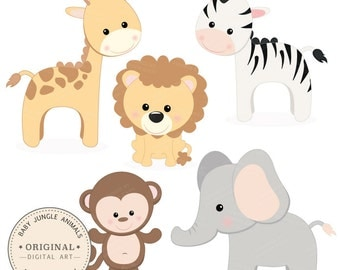 Professional Baby Jungle Animals Clipart & Vector Set - Baby Shower Clip Art, Baby Animals Clip Art, Kids Animal Clipart, Elephant, Monkey