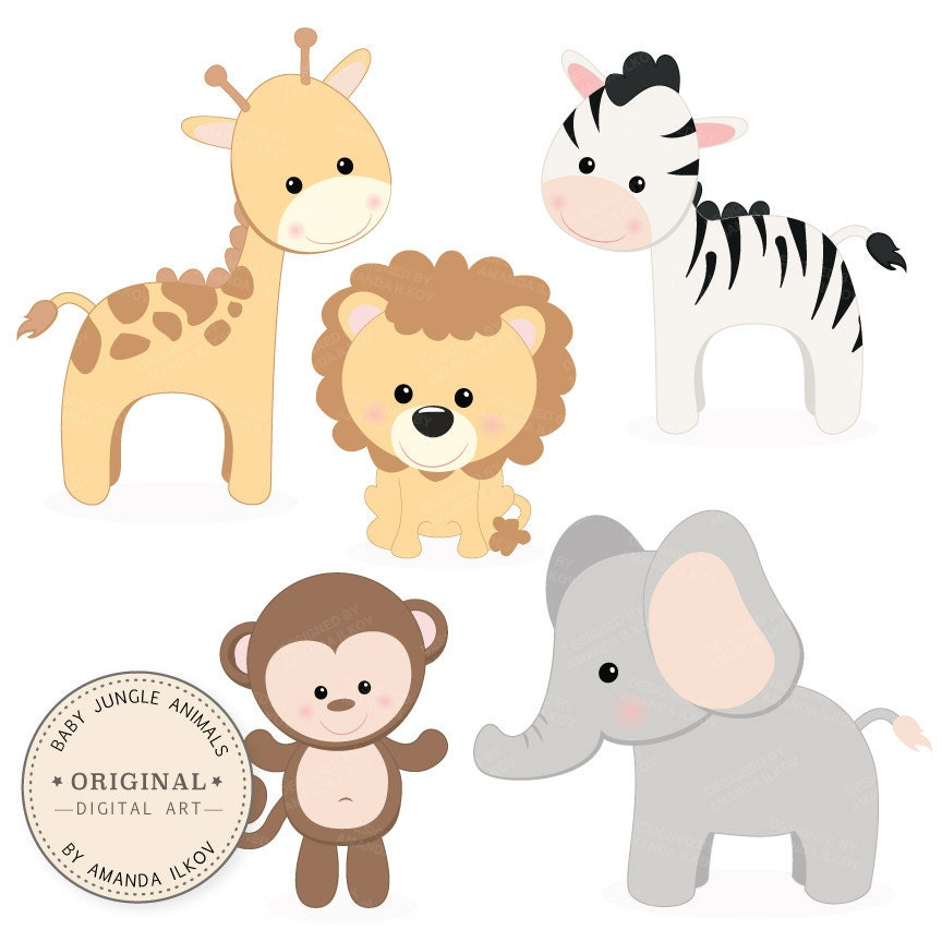 Professional Baby Jungle Animals Clipart & Vector Set Baby