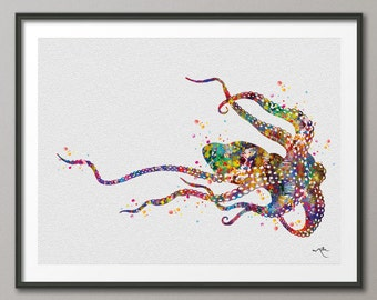Octopus 3 Sea Life Watercolor illustrations Art Print Coastal Art Wall Art Poster Giclee Wall Decor Art Home Decor Wall Hanging [NO 484]