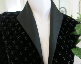 80'S After Five Black Beaded Velvet Jacket Size 8