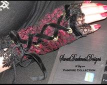 Gothic FINGERLESS GLOVES Pair Gothic Cuffs Wrist CORSET Dark Victorian Vampire Cuffs Burgundy Lace Vampire Clothing by SweetDarknessDesigns
