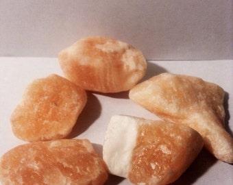 Orange Calcite Surprise | Tumbled Orange Calcite | Orange Calcite Crystals | Pocket Stones | Wire-Wrapping Stones | Calcite | Orange Calite