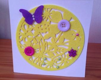 Flowers and butterflies felt card