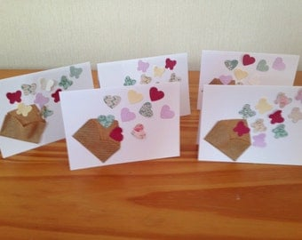 Set of 5 butterflies and hearts mini notecards