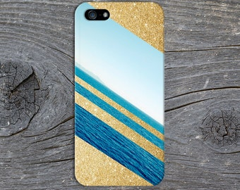 Gold Glitter x Deep Blue Ocean Case for iPhone 6 6 Plus iPhone 7  Samsung Galaxy s8 edge s6 and Note 5  S8 Plus Phone Case, Google Pixel