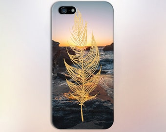 Gold Leaf x Rocky Ocean Sunset Design Case for iPhone 6 6 Plus iPhone 7  Samsung Galaxy s8 edge s6 and Note 5  S8 Plus Phone Case
