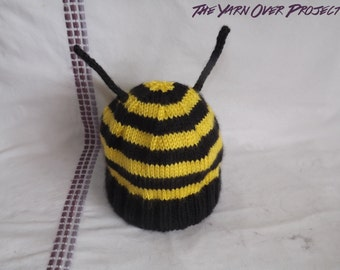 Hand-Knit Bee Baby Hat - Knitted Bumblebee Beanie - Beanie Hat for Baby - Newborn Photo Prop